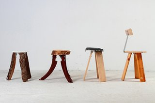 A line up of stools using Claret's metal bracket show the Piece's versatility. The furniture was made in collaboration with the Arrels Foundation, a group dedicated to helping the homeless in Barcelona.