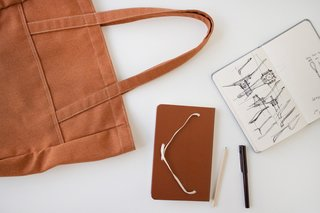 Product Spotlight: Sketchbooks by Makr - Photo 2 of 4 - A terra cotta version jives beautifully with the Heather A-Strap Tote.