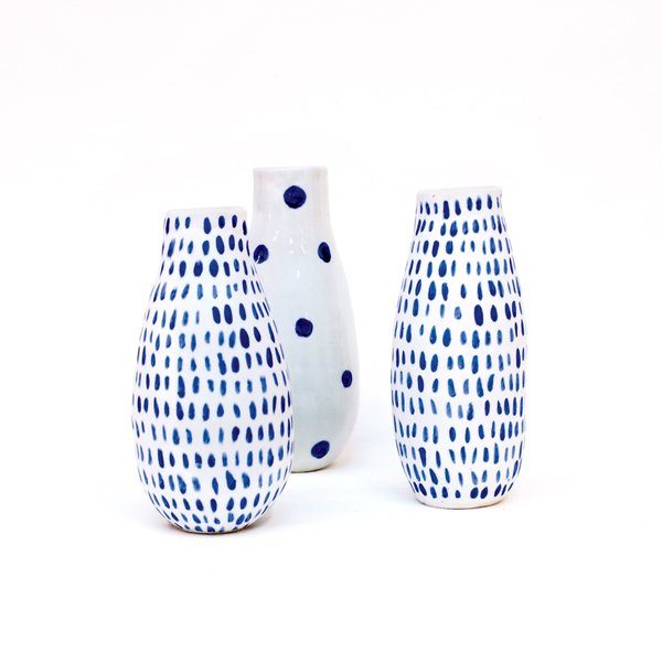 Pittburgh, Pennsylvania<br><br>Vases by Reiko Yamamoto, $85 each. Ceramicist Reiko Yamamoto creates porcelain tabletop objects with simple forms and poetic imperfections by intuitively responding to the clay as she works.