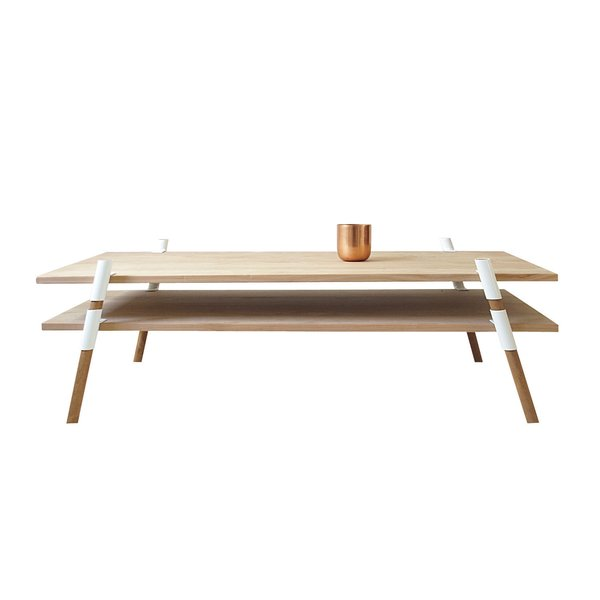 St. Augustine, Florida<br><br>2-Tier Coffee Table by Yield Design Co., from $950. Yield Design's restrained material palette showcases each element of this flat-pack alder table with powder-coated steel hardware.