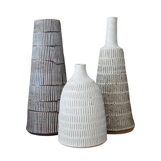 Los Angeles, California<br><br>Stripe and Scandi Lamps (bases shown here) by Mt. Washington Pottery, from $1,200. Beth Katz's hand-thrown stoneware and porcelain gives Scandinavian style a rough-hewn wabi-sabi energy.