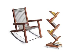 Stoa Design - Photo 1 of 2 - Aesthetically, Stoa eschews dainty in favor of raw, rugged, and industrial. A chain mail–like armchair is made from stainless steel assembly-line components, while his wind chimes and sculptures incorporate found machine parts (even a massive iron drill).