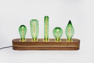 Available in both emerald and clear glass, the recycled bottle shelf lighting is stabilized by 10cm of hardwood.