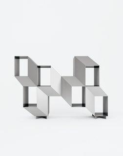 Furniture Designer Spotlight: La Chance - Photo 5 of 10 - Charles Kalpakian's Escheresque Rocky shelving lacquered in matte aluminum gray (Jekyll).