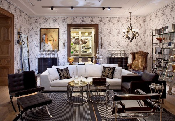 Inside the mansion, each room displays a furniture collection that coordinates with the home's architectural style.