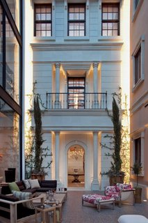 The last building is a classic townhouse with a grand staircase to allow customers to traverse the space easily.