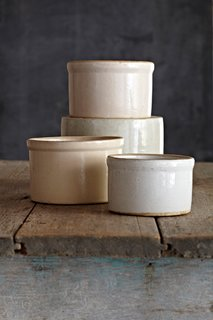 """""""Solid utilitarian stoneware with a zen neutrality. They are good for pickles, potted shrimp, duck rillette, or Yottam Ottolenghi's dip. Go ahead and bake in them, too."""""""