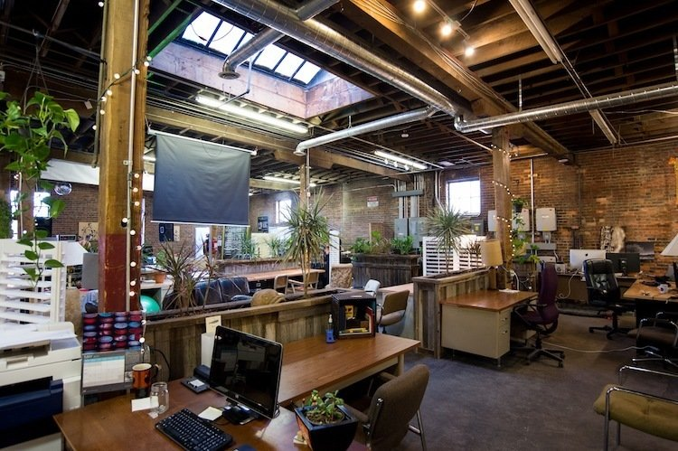 Green Spaces (Denver, United States)  This solar-powered coworking space in Denver's arts district is literally a breath of fresh air, and not just because the plethora of reclaimed wood planters between desks freshens the environment. With plans to expand and add a rooftop garden, the dog-friendly space offers a healthy environment to mitigate the screen's ever-present glow.  Photo 3 of 13 in 13 Inspiring Coworking Spaces