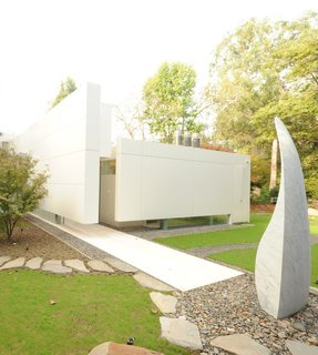 A Modern House and Studio for a Marble Sculptor - Photo 1 of 1 - At Dwell on Design, architect Michael Lehrer will take us on a virtual tour of Canyon House, the house and studio he designed for the marble sculptor Charlie Kaplan.