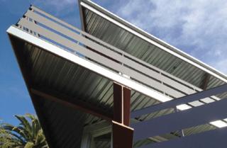 Tattuplex in Silver Lake is a custom Ecosteel prefab with geometric overlapping decks, as seen from below.