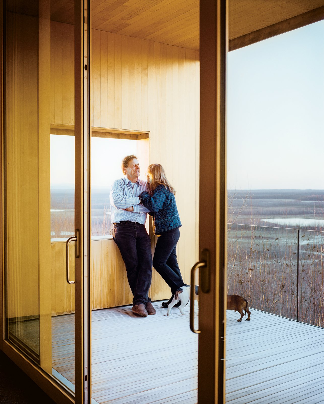 Doors, Exterior, and Sliding Door Type The sliding doors to a deck are by the Canadian company Dynamic Architectural Windows & Doors.  Photo 13 of 20 in This Modern Cabin Is the Ideal HQ For a Family in Alaska