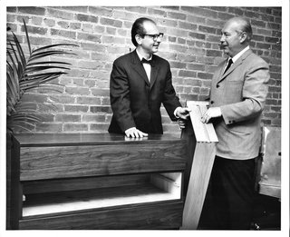 Mid-Century Designer Focus: Mel Smilow - Photo 3 of 7 - Mel Smilow, left, and Morton Thielle demonstrate the solid wood slide and groove construction of a drawer inside one of their creations (cheaper furniture uses metal slides). Photo courtesy of the Smilow Family.