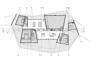 Clifftop House Floor Plan<br><br>A Open Kitchen<br><br>B Dining Room<br><br>C Living Room<br><br>D Master Bedroom<br><br>E Kids' Bedroom<br><br>F Guestroom<br><br>G Bathroom<br><br>H Home Office<br><br>I Sail Loft and Workshop<br><br>J Deck
