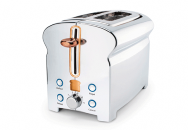 Here's the Michael Graves Design Toaster which is made from stainless steel and has a copper handle. Strum described how copper is a common material in kitchenware and how his team wanted to nod to the metal in the toaster design. The little toast icon is actually an digital display that counts down as your bread toasts.