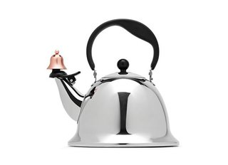 The Graves office is famous for tea kettles, the most popular of which is the Whistling Bird for Alessi. This Bells and Whistles tea kettle continues its legacy with a playful touch at the spout.