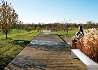 """The deck in the """"memory orchard"""" of the Field House."""
