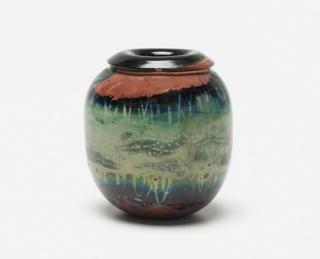 """Mass Modern lot 298: Kent Ipsen handblown glass vase from 1972 (4.5"""" x 5""""); estimate $300-$500."""