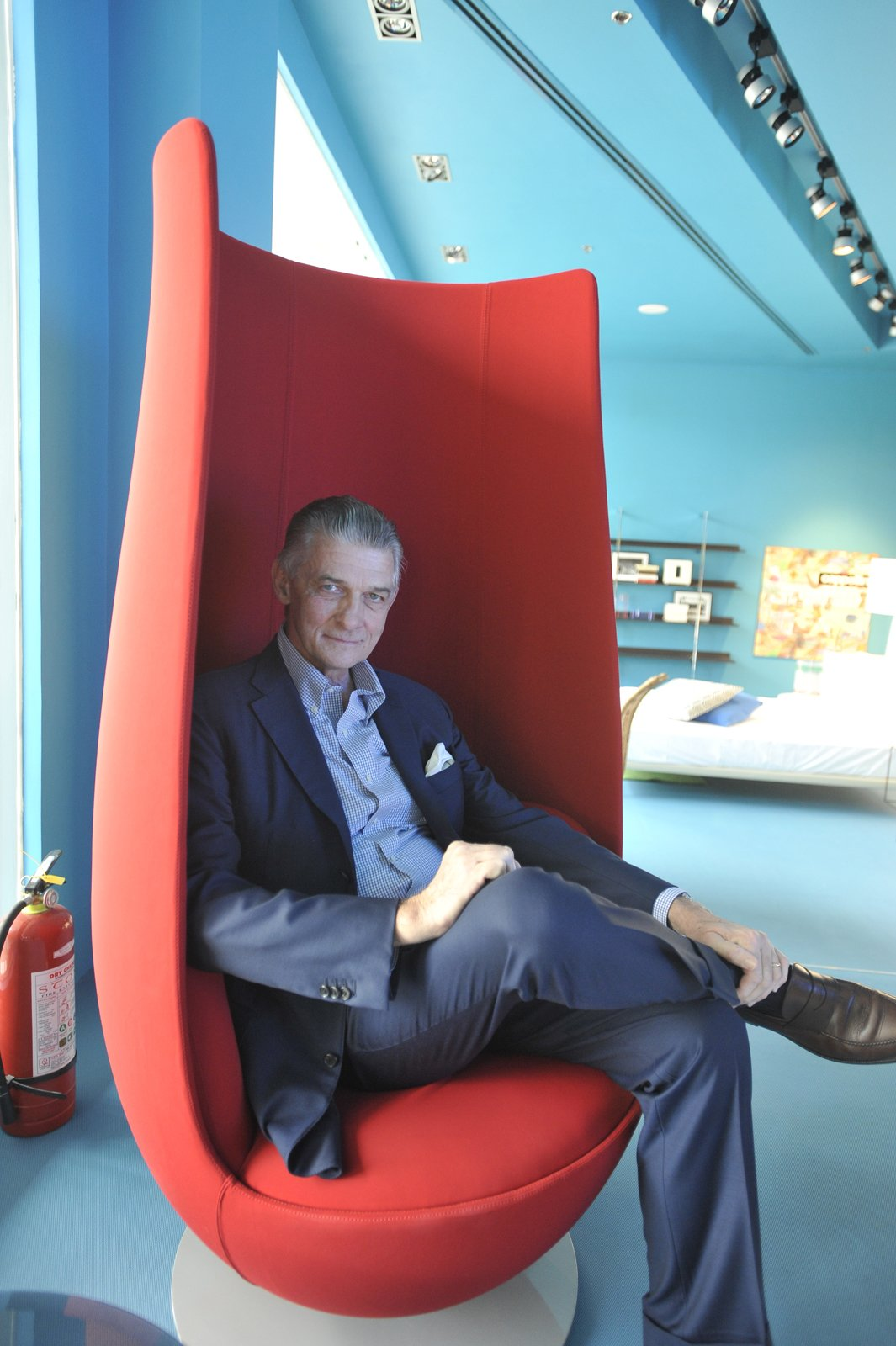 Giulio Cappellini sits in a Tulip chair by Marcel Wanders for Haworth Collection.  Photo 1 of 1 in Giulio Cappellini on the Changing Design Landscape