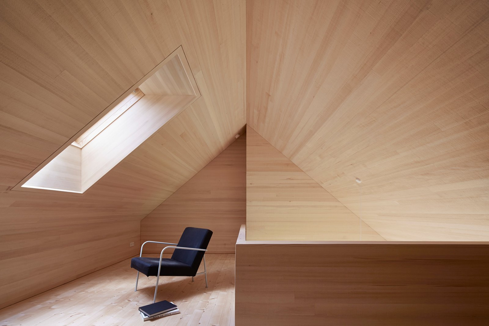 Windows, Skylight Window Type, and Wood A skylight floods the loft space with daylight and offers views of the stars at night.  Photo 7 of 10 in A Simple Gabled House Features an Intricate Latticework Shell from House For Julia Björn