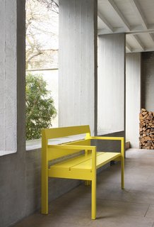 VMM Bench by Marc Supply and Anneli Lahtua: We like the sunny splash of color this bench adds to any space. Photo by Filip Dujardin