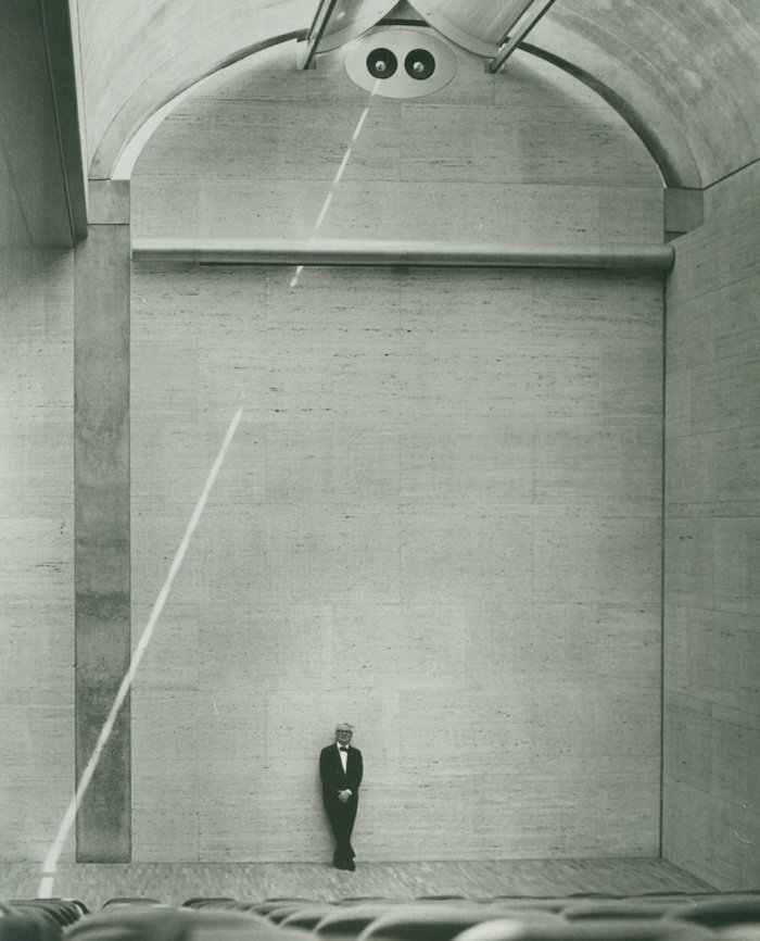 """Louis Kahn at the Auditorium of the Kimbell Art Museum, 1972   The architect famously asked, """"What does this building want to be?"""" when starting a project. In the case of this museum, Kahn incorporated skylights to diffuse natural light throughout as a way to illuminate the artworks.  Photo 1 of 10 in Design Icon: 9 Buildings by Louis Kahn"""