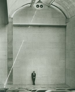 "Louis Kahn at the Auditorium of the Kimbell Art Museum, 1972 <br><br>The architect famously asked, ""What does this building want to be?"" when starting a project. In the case of this museum, Kahn incorporated skylights to diffuse natural light throughout as a way to illuminate the artworks."