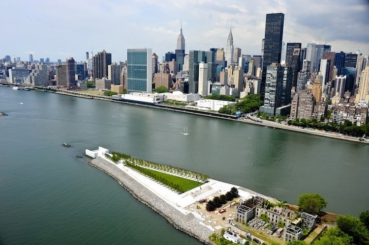 """Franklin D. Roosevelt Four Freedoms Park (New York, New York: 2012)  FDR's uplifting wartime speech was translated into a sublime space for reflection by Kahn's design, which features simple planes of granite forming a walkway that seemingly leads above the fray of New York. Completed posthumously, the park's focus is """"the room,"""" an open-air chamber surrounded by 12-foot-high walls of granite that stands as one of Kahn's most transformative monuments.  Photo 4 of 10 in Design Icon: 9 Buildings by Louis Kahn"""
