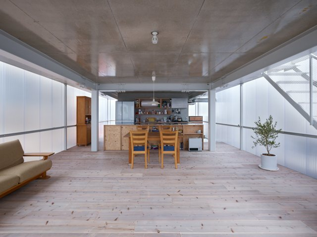 Thanks to its translucent envelope of polycarbonate plastic, the house glows like a firefly at night and is so bright during the day that resident Daisuke Tokuyama says he rarely turns on a light.  Photo 4 of 5 in The Home That Glows in the Dark