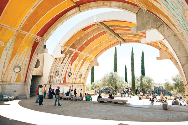 Architect Paolo Soleri envisioned Arcosanti as a structure for 5,000 people. Construction began in 1970 but stalled before it could be completed. However, it continues to be a cultural hub in Arizona. Daily meetings take place in an area known as the Vaults, which functions akin to an ancient Roman forum. There, people discuss events, sell produce, and make announcements.<br><br>Photo by: Peter Bohler