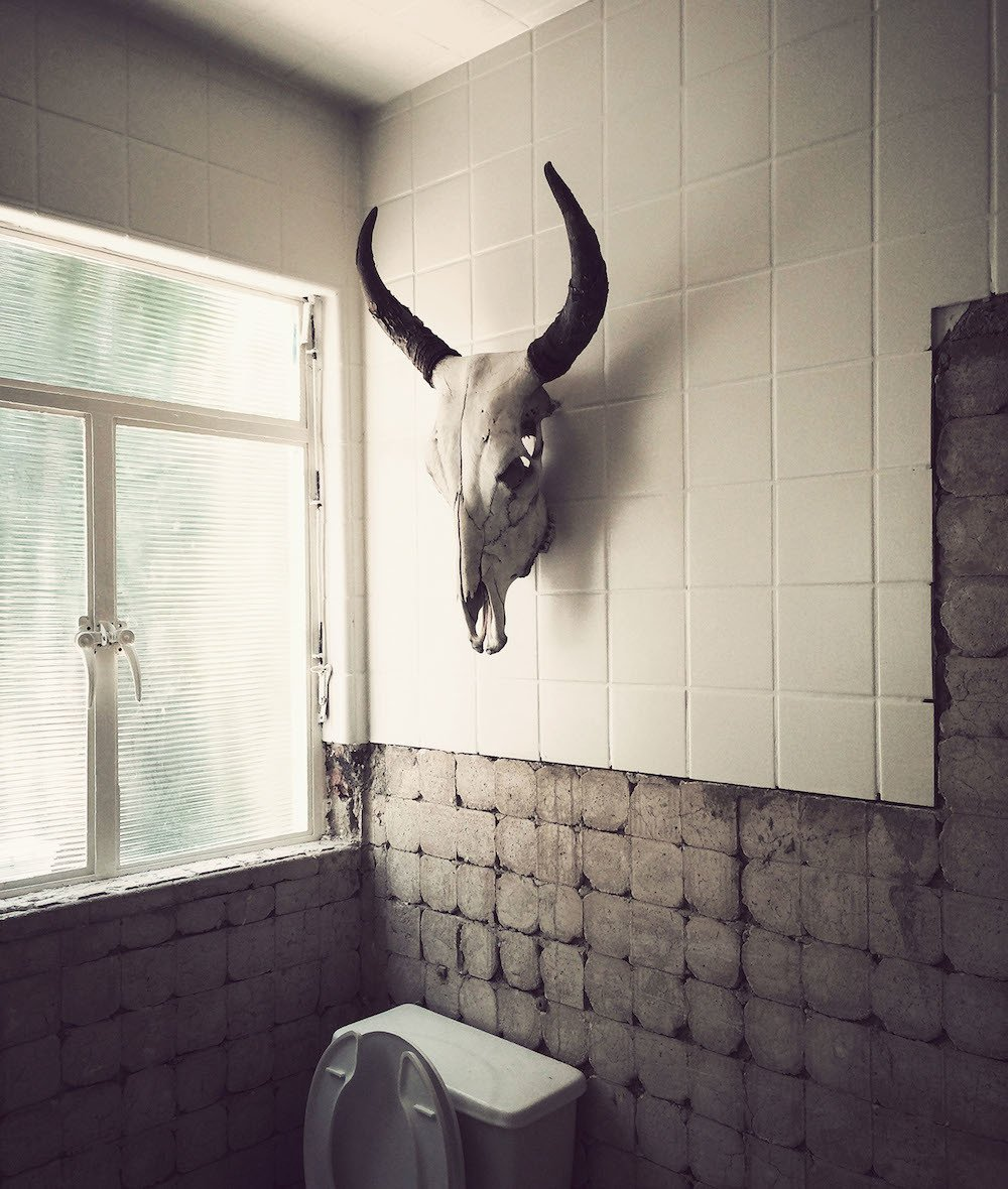 """Bath Room, Ceramic Tile Wall, Concrete Wall, and Two Piece Toilet """"A lot of people were skeptical about the idea, even though it wasn't the first time I pulled off something crazy,"""" Cadena says. """"I just trusted my intuition and the philosophy of the chef.""""  Photo 1 of 1 in Should Animals Act as Decor? from 10,000 Bones Cover the Walls of this Mexico Restaurant"""