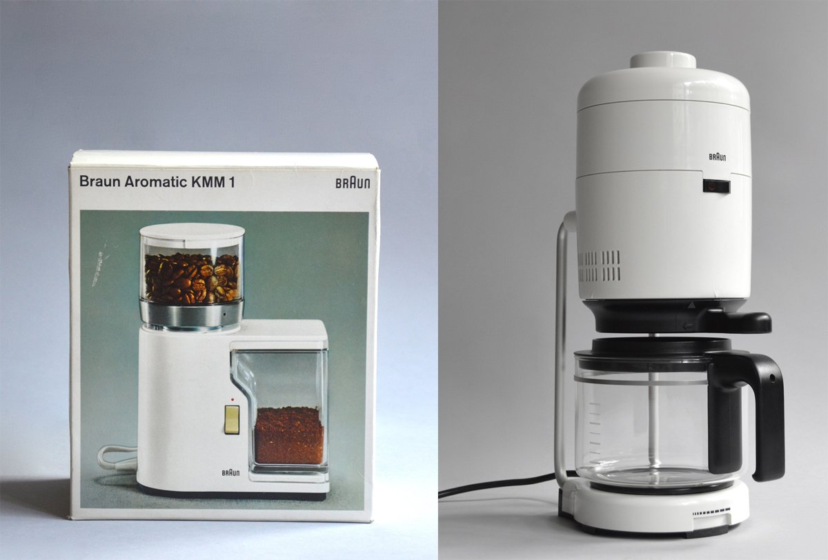 Braun KF 21 Aromaster designed by Florian Seiffert and Hartwig Hahlcke (1976), in white or orange.  Photo 1 of 8 in Shop the Vintage Braun Catalog from Your Web Browser