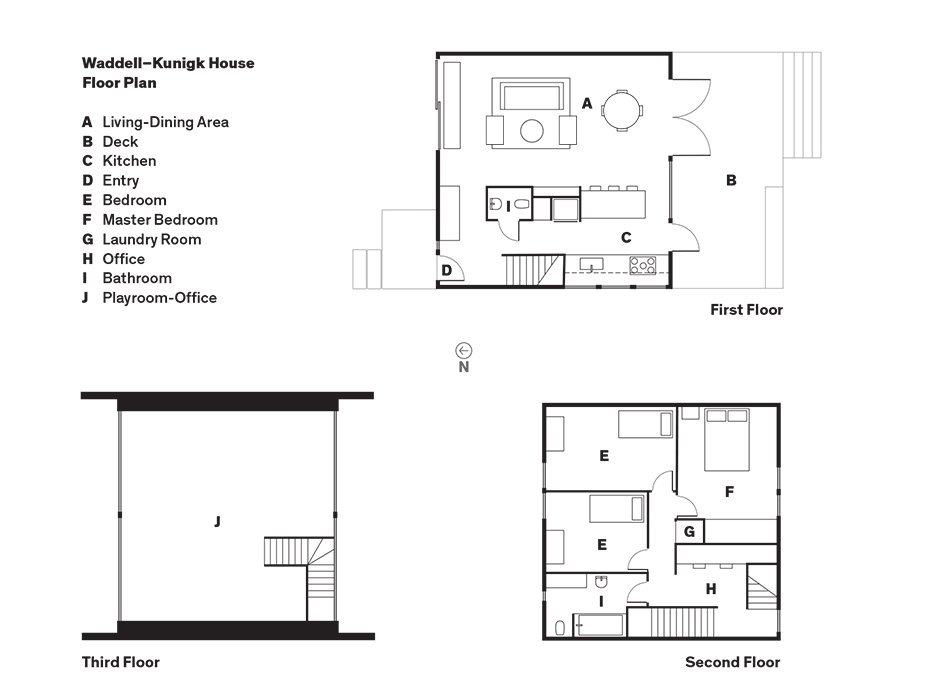 Waddell–Kunigk House Floor Plan  A    Living-Dining Area  B    Deck  C    Kitchen  D    Entry  E    Bedroom  F    Master Bedroom  G    Laundry Room  H    Office  I    Bathroom  J    Playroom-Office  Photo 11 of 11 in This Bungalow is Anything but Basic