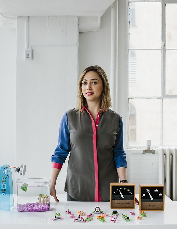 Ayah Bdeir founded littleBits in 2011. The company produces a library of electronic modules that can be used to create all manner of devices, like a remote-controlled fish feeder and weather monitor.  Photo 1 of 7 in DIY Electronics Company Aims to Turn Even the Least Savvy Users Into Smart Tech Wizards