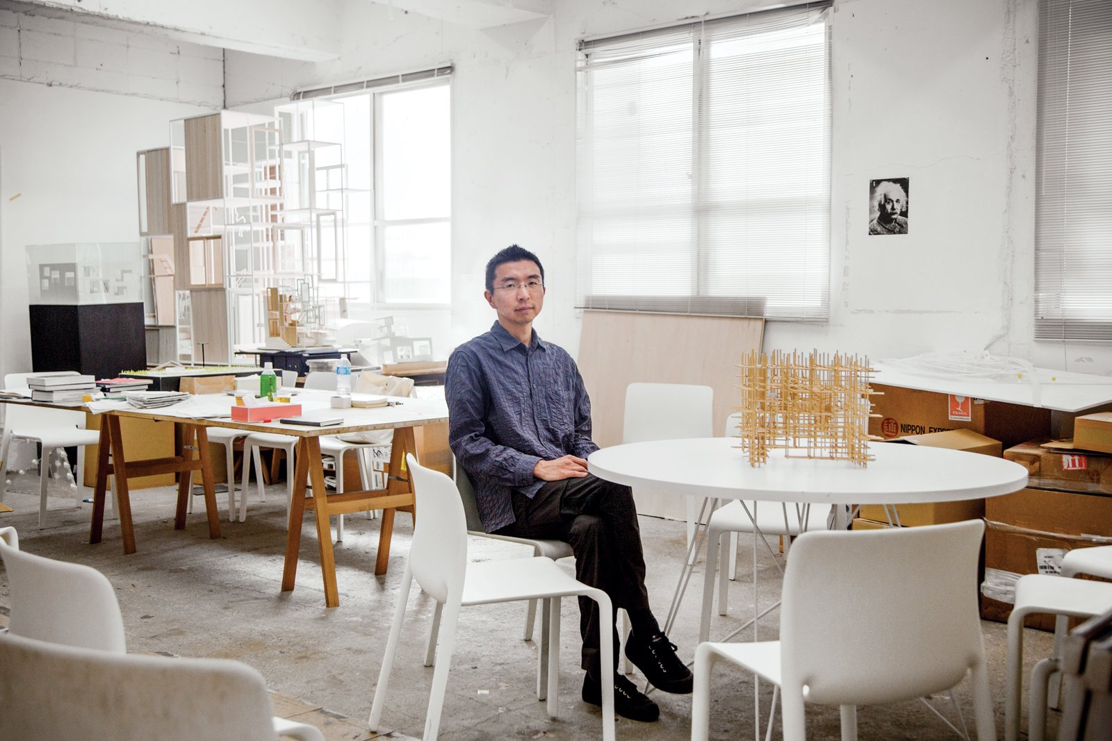 Sou Fujimoto works in a former factory in Tokyo. Since many of his ideas start out as 3-D concepts, hand-built models are one of the fastest ways for him to visualize and modify his ideas. Photo by: Jeremie Souteyrat  Photo 1 of 6 in Architect We Love: Sou Fujimoto