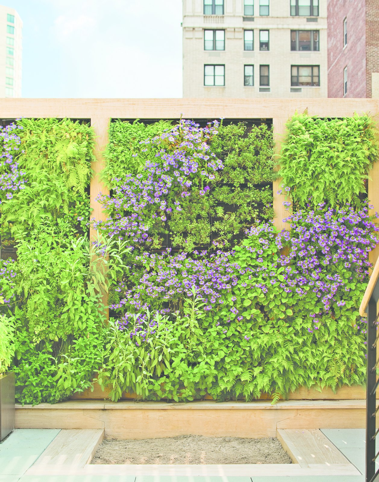 Outdoor, Flowers, Garden, and Gardens The perennial plants on the green wall were plotted out as a piece of verdant abstract art. Edibles, like strawberry, thyme, and rosemary, are planted within children's reach.  Photo 3 of 5 in Nelson Byrd Woltz Harnesses the Natural Elements