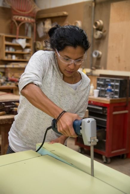 Fahmida Lam is in action at the Thos. Moser workshop in Auburn, Maine. Photo provided by Thos. Moser.  Photo 3 of 9 in The Apprentice: A City Modern Preview