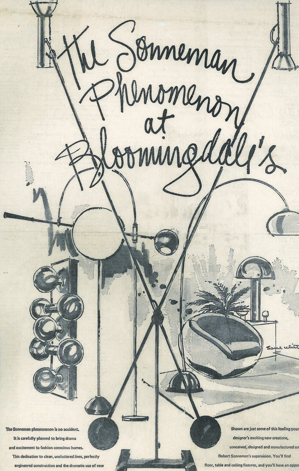 After absorbing a range of modern design influences and building his own point of view, he became known for developing a type of American style that was minimal and cosmopolitan. Shown here is a vintage Bloomingdale's advertisement that places his work in a modern living setting.  Photo 3 of 10 in The Lighting Designer Who Has Melded Form with Function for Decades