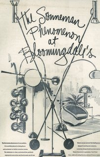 After absorbing a range of modern design influences and building his own point of view, he became known for developing a type of American style that was minimal and cosmopolitan. Shown here is a vintage Bloomingdale's advertisement that places his work in a modern living setting.