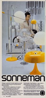 At the forefront of this 1970s advertisement is Sonneman's Mushroom table lamp in a distinct mustard hue. It was constructed of spun aluminum and was topped off with a chrome tipped bulb. Though this piece is no longer in production, some of his original designs from the era are still around today.