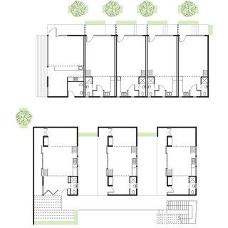 La Esquina Floor Plan<br><br>A    510-Square-Foot Corner Unit <br><br>B    450-Square-Foot Unit<br><br>C    525- and 595-Square-Foot Units<br><br>D    Bathroom<br><br>E    Kitchen<br><br>F    Terrace-Courtyard