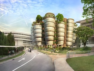 The focus of this competition-winning design for Nanyang Technological University's Learning Hub, completed in 2014 in Singapore, is 56 tutorial rooms in which cluster-based learning replaces traditional classrooms. The building's distinctive shape encourages connections among users with rounded rooms, stacked into clustered towers, opening onto shared circulation space. The central atrium provides a focus for student activities and fosters a spirit of openness. Community and recreational activities take place on the upper levels and rooftops, which feature gardens, shaded terraces, and pergolas. This generous planting underscores the university's national status as a garden campus.