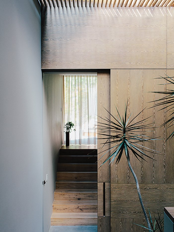 Staircase and Wood Tread Oak veneer lines the stairwell in between the master bedroom and the children's wing.  Photo 5 of 15 in A Lush Retreat With a Sheltered Rooftop Pool in Mexico City