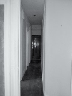 A view of the hallway before renovation.