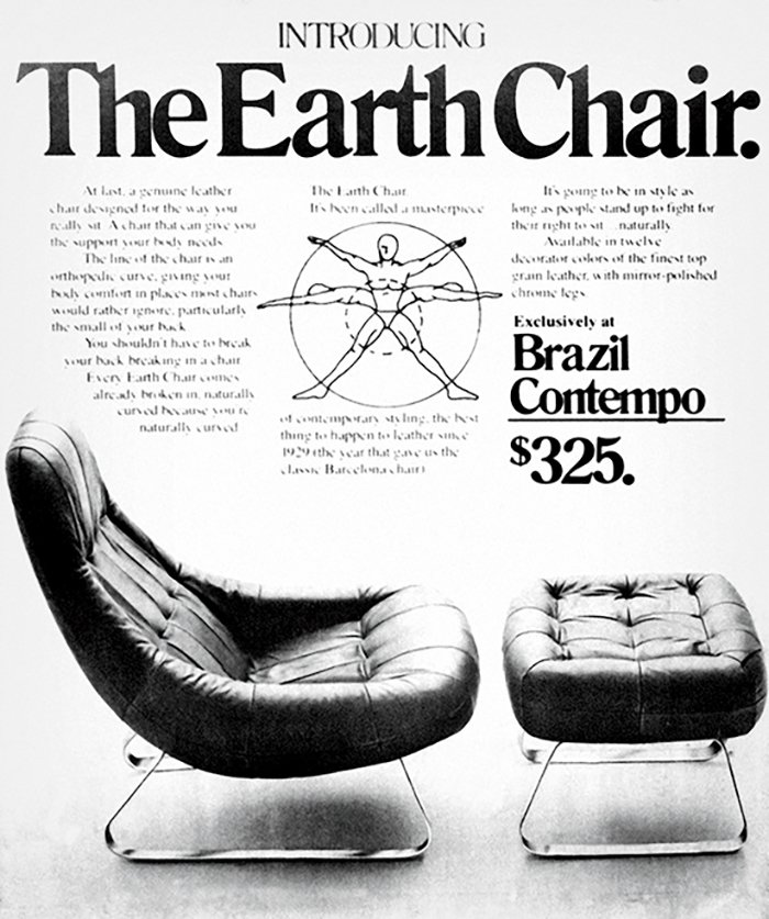 """A late 1970s ad for the MP-163 armchair and footrest (1976): Dubbed the """"Earth Chair"""" by retailer Brazil Contempo, it was Lafer's first design to feature an inner structural steel frame.  Photo 4 of 7 in This Brazilian Modernist You Should Know About Designed Countless Classic Chairs"""