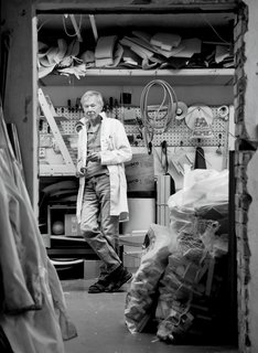 "A 2013 portrait of Norwegian furniture designer Peter Opsvik in his workshop, a venue he finds ""more suitable for experiments than the computer."""