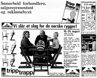 Kaare Stokke, owner and CEO of Stokke, which has manufactured the Tripp Trapp since 1972, fronted one of the first marketing campaigns for the chair in 1974. Seated with his wife and children in Opsvik's design, Stokke publicized it as an ergonomic chair for the whole family.
