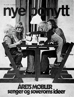"Featured on a 1970s cover of Nye Bonytt (a Norwegian interior magazine now called Bonytt), the Tripp Trapp revolutionized seating for the entire family. Adults and children alike are shown seated in the chair, accompanied by the heading: ""This year's furniture."""