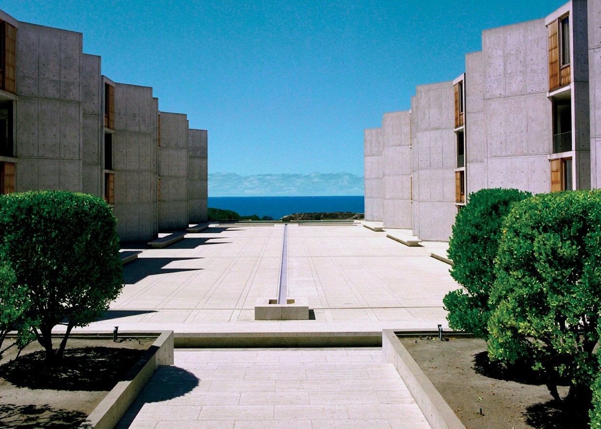 Pallasmaa considers San Diego's Salk Institute an architectural masterpiece for its spiritually inspiring vistas and poetic sense of monumentality. Designed by Louis Kahn, it was completed in 1965.  Photo 2 of 4 in Juhani Pallasmaa on Humane Cities, Monumental Architecture, and the Architect's Role in Society