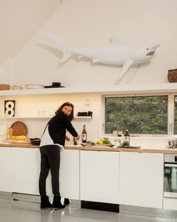 A Cluster of Cabins in a Former Quarry Makes a Simple Vacation Escape - Photo 7 of 13 - In the kitchen, a sculptural replica of a shark hangs above the sink.