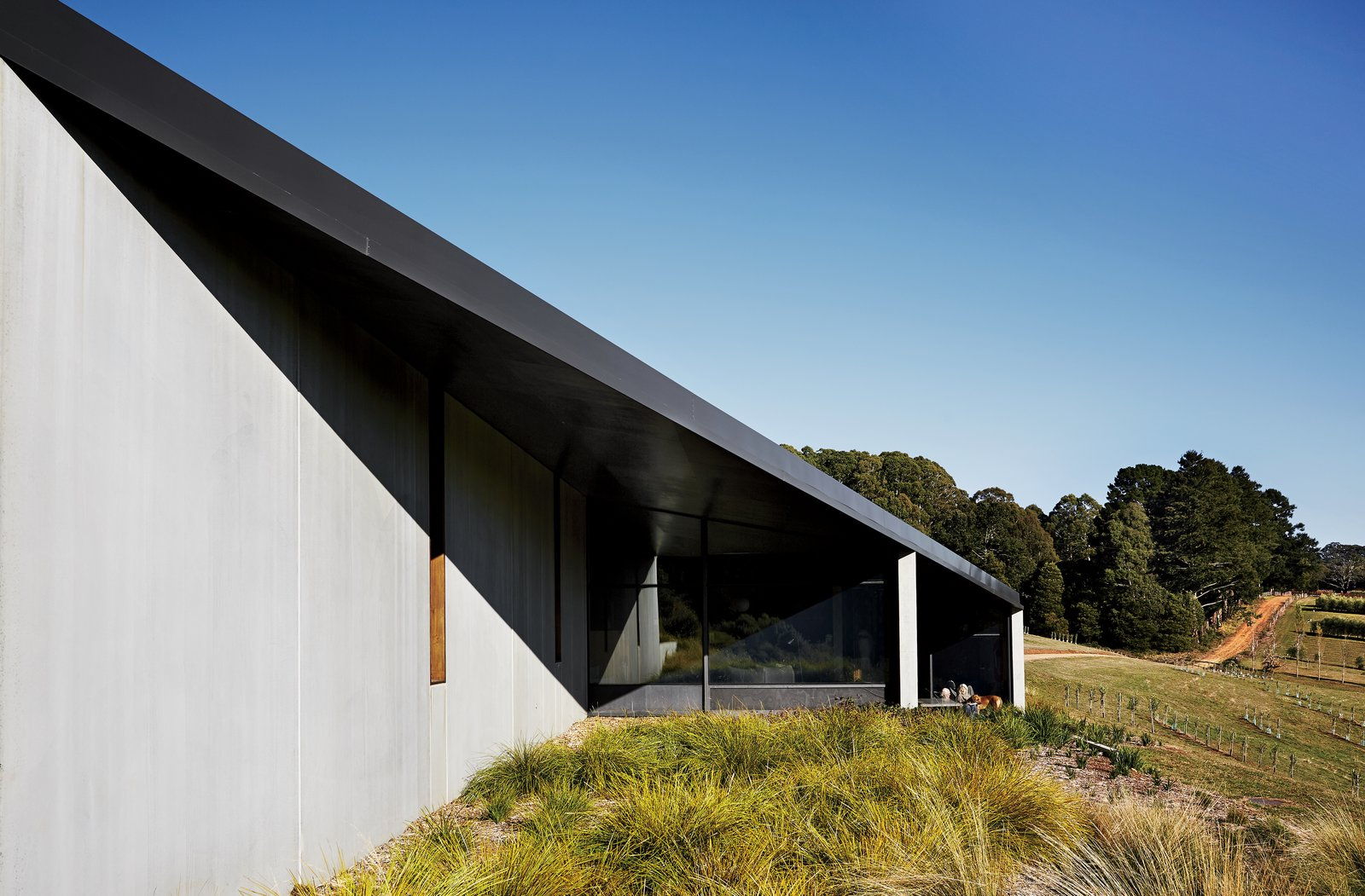 Exterior, Concrete Siding Material, and House Building Type Embedded in the rugged southern Australian landscape, the House at Hanging Rock comprises three volumes connected by a sweeping rhomboid roof. The Colorbond steel overhang is in a dark-gray shade called Monument.  Photo 1 of 10 in Richly Furnished Home Frames Striking Landscape Views